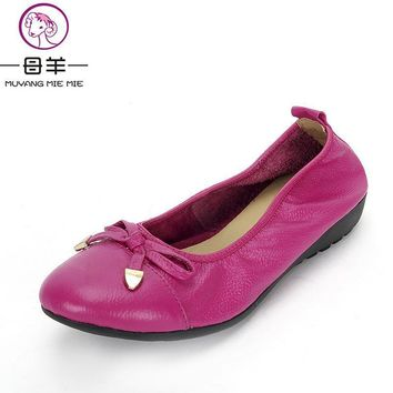 MUYANG Chinese Brand Women Genuine Leather Flat Shoes Woman Loafers,Women Shoes Handma