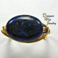 DWJ0222 Blue and Gold Lapis Lazuli Solitaire Wire Wrap Ring All Sizes