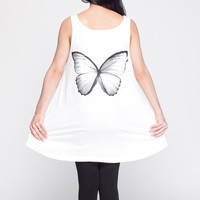 Butterfly T Shirt Dress Butterfly Wings Animal Insect Top Women Shirts White Tunic T-Shirt Sleeveless Vest Mini Dresses Size M L