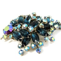 Vintage Teal AB Rhinestone Spray Brooch BIG Dazzling
