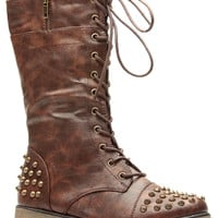 Brown Faux Leather Spiked Lace Up Combat Boots