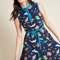 Field Questions A-Line Dress in Marine Life