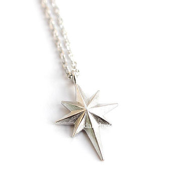 shining star necklace, star necklace, unique necklace, man necklace, star, star jewelry, simple necklace, shining star, silver necklace