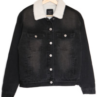 Sherpa Lined Denim Jacket - Black