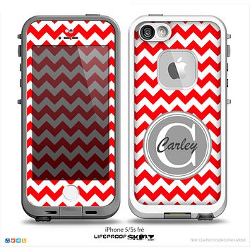 The Red & White Chevron Monogram Name Script Skin Gray v1 Skin for the iPhone 5-5s Fre LifeProof Case