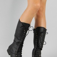 Coco-8 Round Toe Lace Up Military Knee High Boot