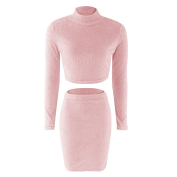 Missufe 2 Pcs Sets Women Autumn Winter Plush Sweater Dress Office Pencil Vestidos Casual Bandage Bodycon Party Dresses