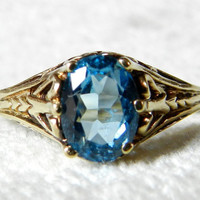 Engagement Ring Blue Topaz Filigree Vintage Ring Gold Diamond 4.5 Carat Topaz Alternative Topaz Engagement Ring December Birthday Stone