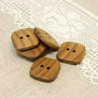 Wooden buttons. Set of 6 square rowan wood buttons size 1 in (25mm) - R9850