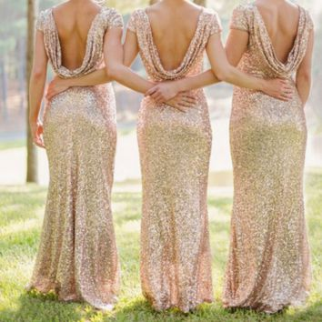 Backless Sequin Bridesmaid Cocktail Dress Wedding Bridesmaid Evening Dress B0015342