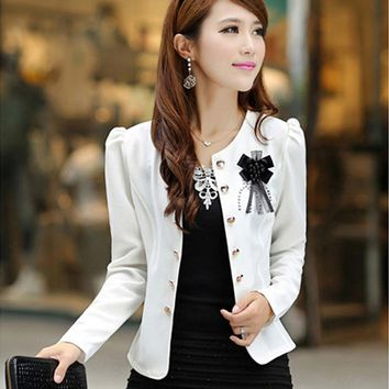 Women's Fashion Solid Color Spring Flower Office Business Suit Jacket