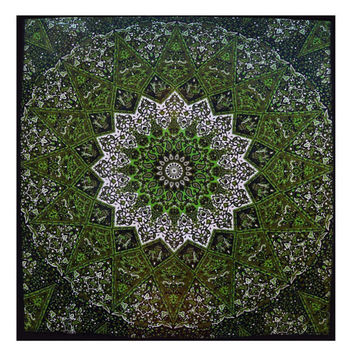 Psychedelic Green Mandala Tapestry : Hippie Tapestry, Bohemian Home Decor, Tapestry, Tapestries, Green Tapestry, Urban Outfitters