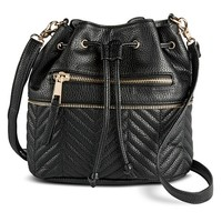 Under One Sky Zipper Bucket Handbag - Black