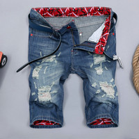 Men's Fashion Ripped Holes Pants Slim Denim Jeans [6541773187]