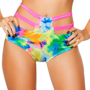 Tie Dye High-Waisted Strapped Booty Shorts