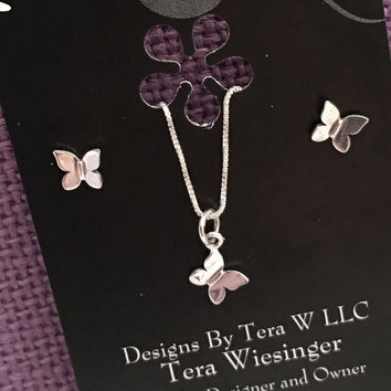Butterly Necklace - Butterfly Earrings  - Tiny Butterfly Jewelry  - Sterling Silver Butterfly Jewelry Set - Gift - Gift for Daughter