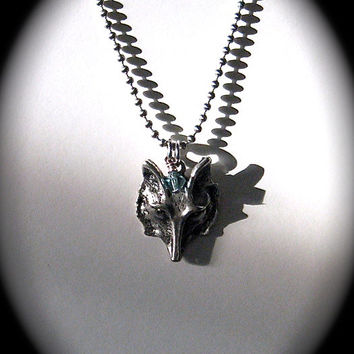 Men's Silver Wolf Pendant Necklace, Blue Fox Sapphire, Swarovski Crystal, Gothic Ghost Wolf, Unisex Wolf Jewelry
