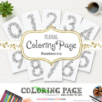 Floral Numbers Coloring Page Adult and Kids Printable Number Anti Stress Coloring Printable Coloring Pages Printable Zen Color Book Download