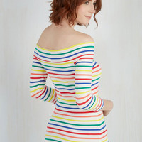 Cafe Parfait Top in Rainbow - 3/4 Sleeves | Mod Retro Vintage Short Sleeve Shirts | ModCloth.com