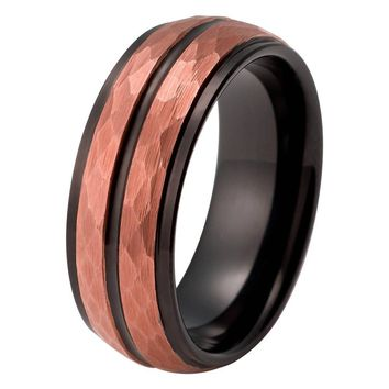 Rose Gold Wedding Band Mens Engagement Ring 18k Tungsten Carbide 8mm Hammered Rose Gold Ring Black Stepped Edges Male Anniversary Mens Wedding Band