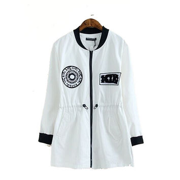 Plus Size Women's Fashion Embroidery Casual Coat Jacket [4919049604]