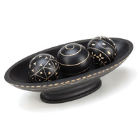 Stunning Wooden Black Decorative Balls With Tray