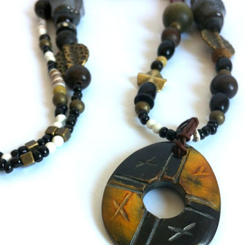 African Style Pendant Necklace Rustic Long Necklace Handmade Beaded Necklace Wood Pendant Coral Multi Gemstone Tribal Vibe Boho Jewelry