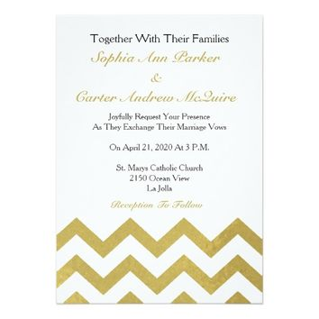 Glam Gold and White Chevron Stripes Wedding Card