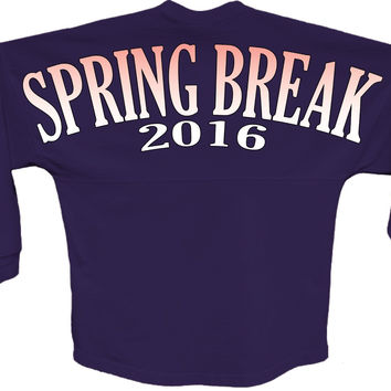 Spring break 2016 orange pom print J america shirt