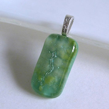 Fused Glass Pendant in Shimmering Greens
