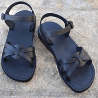 leather sandals, Shoes, Women's Shoes, Sandals, Gladiator & Strappy Sandals, Jerusalem sandals, Women sandals, Sandals, blackleather sandal