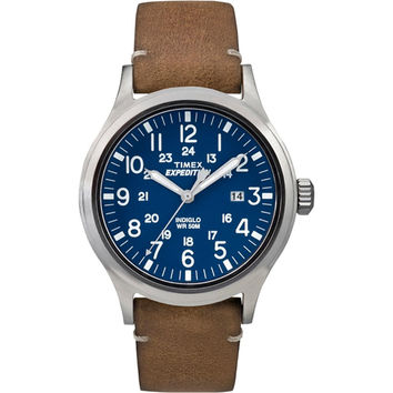 Timex Expedition Metal Scout - Tan Leather-Blue Dial