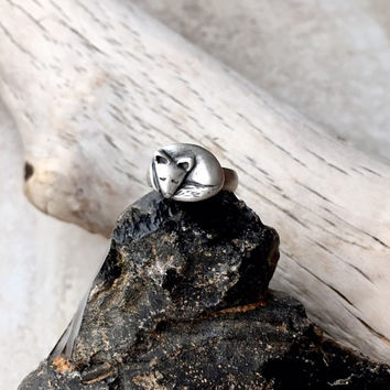 Dainty Silver Fox Ring, Sleeping Fox, Animal Jewelry, Woodland Animal, Spirit Totem, Size 6 Sterling Silver Band, Whimsical Gifts for Women