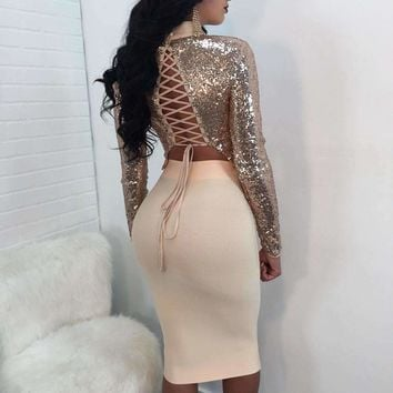 Two Piece Set Sequins Bandage Cross Back Crop Tops Keen Skirts Suits Long Sleeve Exposed Navel Top Femme
