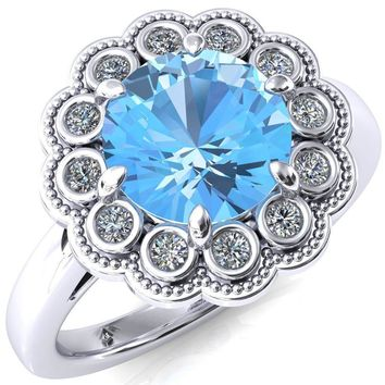 Zinnia Round Aqua Blue Spinel 6 Prong Milgrain Diamond Halo Cathedral Engagement Ring
