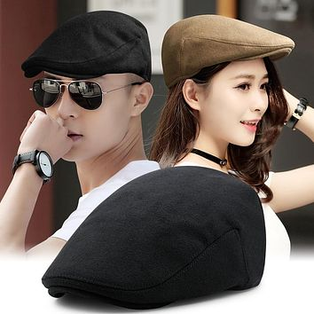 Beckyruiwu Male Winter Keep Warm Fitted Newsboy Caps Men Outdoor Causal Flat Ivy Cap Women Wool Felt Solid Beret Hat 11 Colors