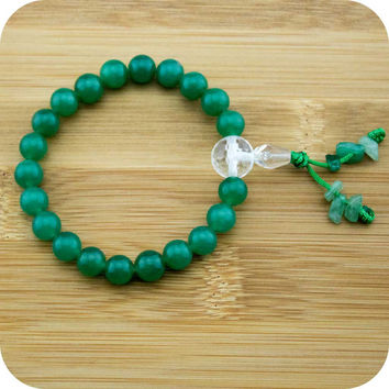 Green Aventurine Buddhist Mala Bracelet with Faceted Crystal Quartz