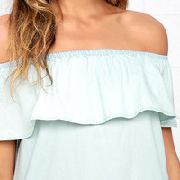 Western Dreams Light Blue Off-the-Shoulder Chambray Dress