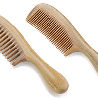 Onedor Handmade 100% Natural Green Sandalwood Hair Combs - Anti-Static Sandalwood Scent Natural Hair Detangler Wooden Comb (Wide Tooth & Fine Tooth Hair Combs)