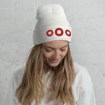 Phish Red Donut Circles Embroidered Cuffed Beanie