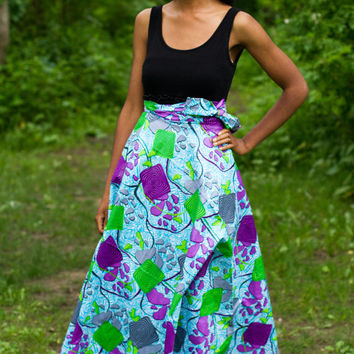 Ankara long Wrap Skirt