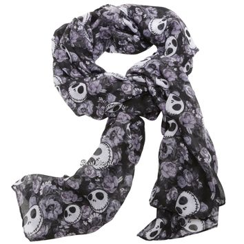 "Licensed cool Disney The Nightmare Before Christmas Jack Skellington Floral Scarf 44""x72"" NEW"
