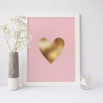 Gold Heart Printable, Love Art, Faux Gold Foil Heart Print, Pink Heart Art, Gold Art, Heart Wall Art, Girls Room Decor, Printable Art