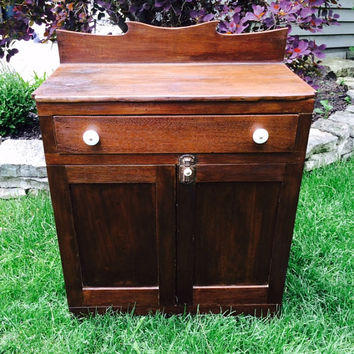 Vintage / Antique Washstand. Walnut Cabinet. Restored Cupboard. Refinished Storage. Ceramic Handles and Hardware  ++Layaway Available++
