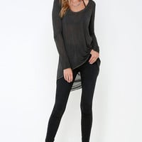 Black Swan Mia Washed Grey Long Sleeve Top