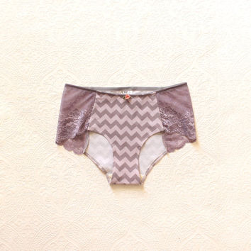 Geometric Chevron 'Day Dream' Panties in Amethyst and Grey wtih Scalloped Lace Underwear Handmade to Order