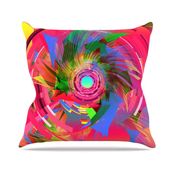"Danny Ivan ""Fun Hole"" Pink Multicolor Throw Pillow"