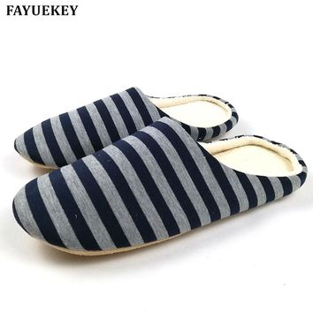 FAYUEKEY 2017 New Soft Sole Spring Autumn Winter Warm Home Cotton Plush Striped Slippers Men Indoor\ Floor Flat Shoes Boys Gift