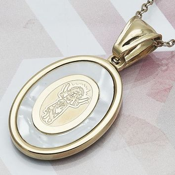 Stainless Steel Men and Women Divino Niño Religious Pendant, with Ivory Mother of Pearl, by Folks Jewelry