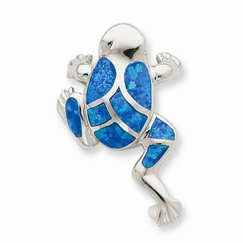 Sterling Silver Created Blue Opal Inlay Frog Slide Pendant
